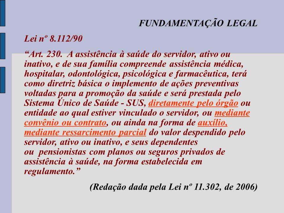 FUNDAMENTAÇÃO LEGAL Regulamentação Decreto n.º 4.978, de 3/2/2004: Art 1º - A Assistência à saúde do servidor ativo ou inativo e de sua família, de responsabilidade do Poder Executivo da União, de suas autarquias e fundações, será prestada mediante: I – convênios com entidades fechadas de autogestão, sem fins lucrativos, assegurando-se a gestão participativa; ou II – contratos, respeitado o disposto na Lei n.º 8.666, de 21 de junho de 2003.