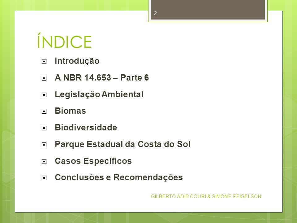 ÍNDICE Introdução A NBR 14.653 – Parte 6 Legislação Ambiental Biomas Biodiversidade Parque Estadual da Costa do Sol Casos Específicos Conclusões e Rec