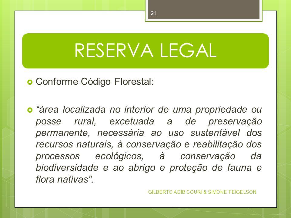 RESERVA LEGAL Conforme Código Florestal: área localizada no interior de uma propriedade ou posse rural, excetuada a de preservação permanente, necessá