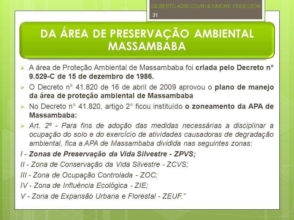 DA ÁREA DE PRESERVAÇÃO AMBIENTAL MASSAMBABA A área de Proteção Ambiental de Massambaba foi criada pelo Decreto n° 9.529-C de 15 de dezembro de 1986. O