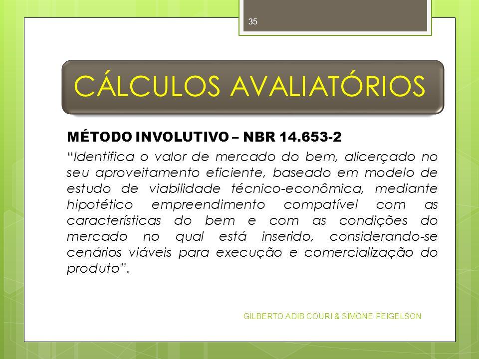 CÁLCULOS AVALIATÓRIOS MÉTODO INVOLUTIVO – NBR 14.653-2 Identifica o valor de mercado do bem, alicerçado no seu aproveitamento eficiente, baseado em mo