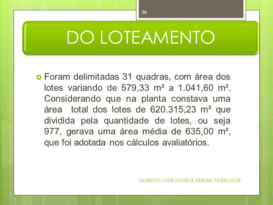 DO LOTEAMENTO Foram delimitadas 31 quadras, com área dos lotes variando de 579,33 m² a 1.041,60 m². Considerando que na planta constava uma área total
