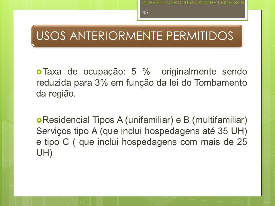 USOS ANTERIORMENTE PERMITIDOS Taxa de ocupação: 5 % originalmente sendo reduzida para 3% em função da lei do Tombamento da região. Residencial Tipos A