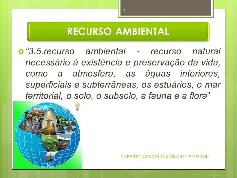 RECURSO AMBIENTAL 3.5.recurso ambiental - recurso natural necessário à existência e preservação da vida, como a atmosfera, as águas interiores, superf