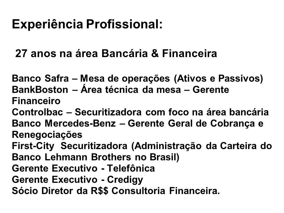 Experiência Profissional: 27 anos na área Bancária & Financeira Banco Safra – Mesa de operações (Ativos e Passivos) BankBoston – Área técnica da mesa – Gerente Financeiro Controlbac – Securitizadora com foco na área bancária Banco Mercedes-Benz – Gerente Geral de Cobrança e Renegociações First-City Securitizadora (Administração da Carteira do Banco Lehmann Brothers no Brasil) Gerente Executivo - Telefônica Gerente Executivo - Credigy Sócio Diretor da R$$ Consultoria Financeira.