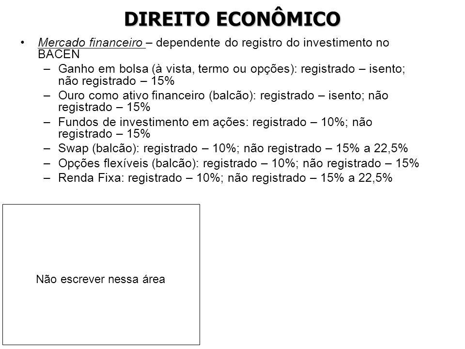 DIREITO ECONÔMICO Mercado financeiro – dependente do registro do investimento no BACEN –Ganho em bolsa (à vista, termo ou opções): registrado – isento