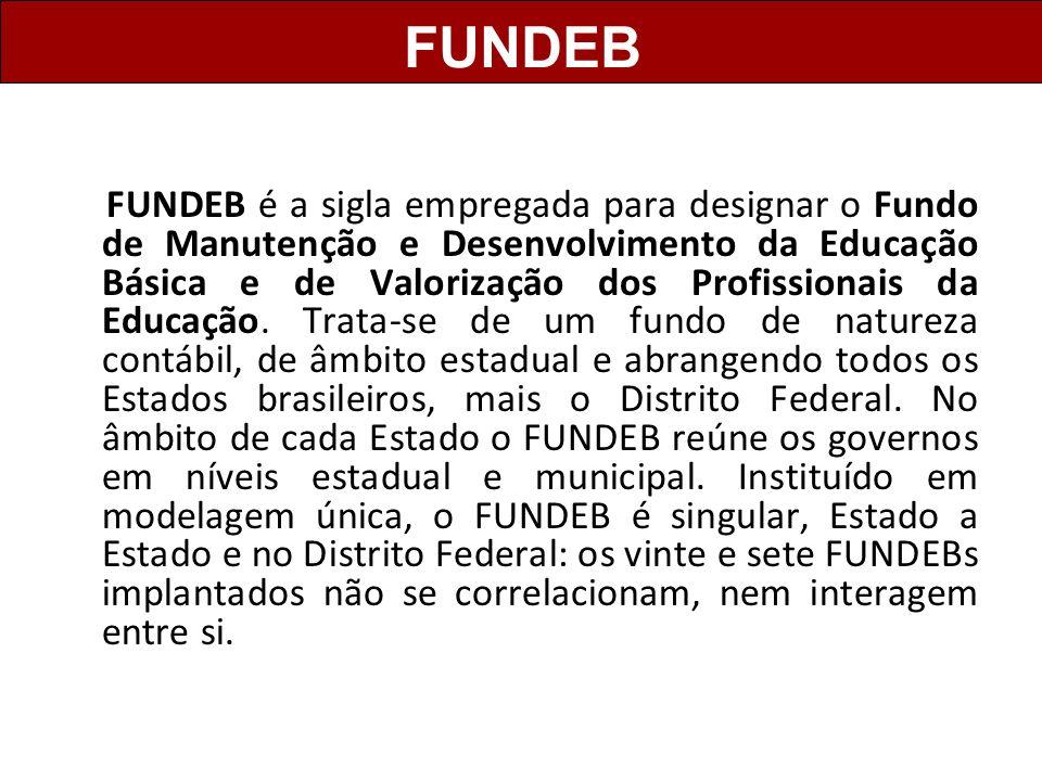 FUNDEB é a sigla empregada para designar o Fundo de Manutenção e Desenvolvimento da Educação Básica e de Valorização dos Profissionais da Educação. Tr