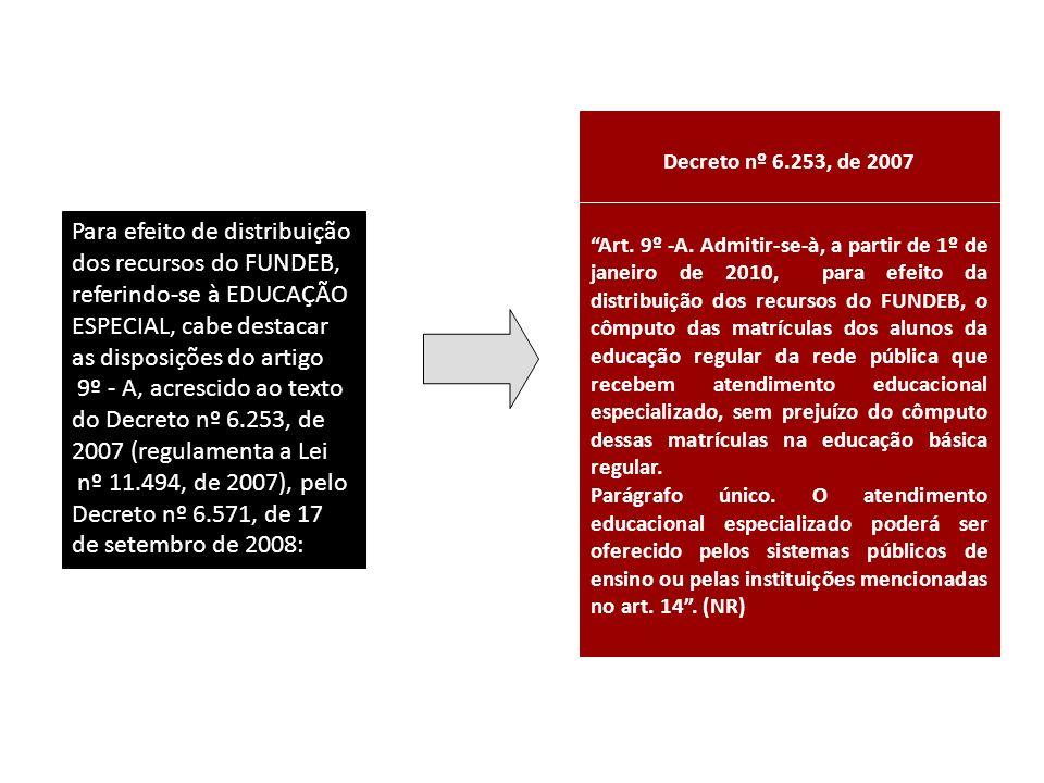 Decreto nº 6.253, de 2007 Art. 9º -A. Admitir-se-à, a partir de 1º de janeiro de 2010, para efeito da distribuição dos recursos do FUNDEB, o cômputo d