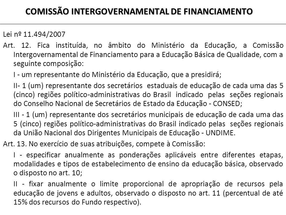 COMISSÃO INTERGOVERNAMENTAL DE FINANCIAMENTO Lei nº 11.494/2007 Art. 12. Fica instituída, no âmbito do Ministério da Educação, a Comissão Intergoverna