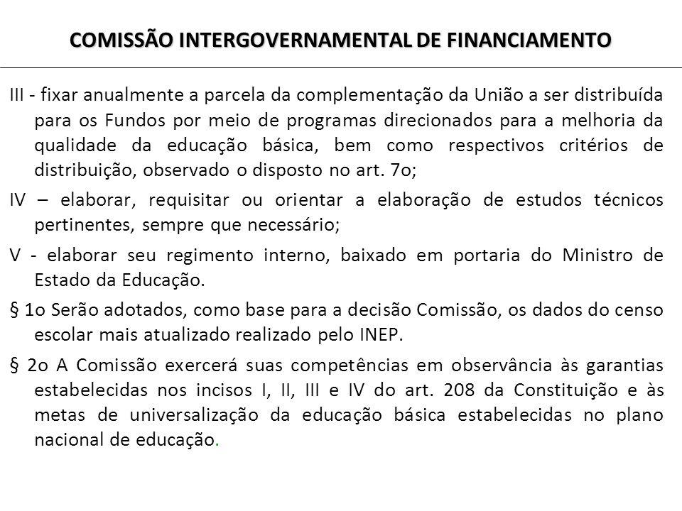 COMISSÃO INTERGOVERNAMENTAL DE FINANCIAMENTO III - fixar anualmente a parcela da complementação da União a ser distribuída para os Fundos por meio de programas direcionados para a melhoria da qualidade da educação básica, bem como respectivos critérios de distribuição, observado o disposto no art.