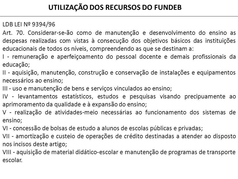 LDB LEI Nº 9394/96 Art. 70. Considerar-se-ão como de manutenção e desenvolvimento do ensino as despesas realizadas com vistas à consecução dos objetiv