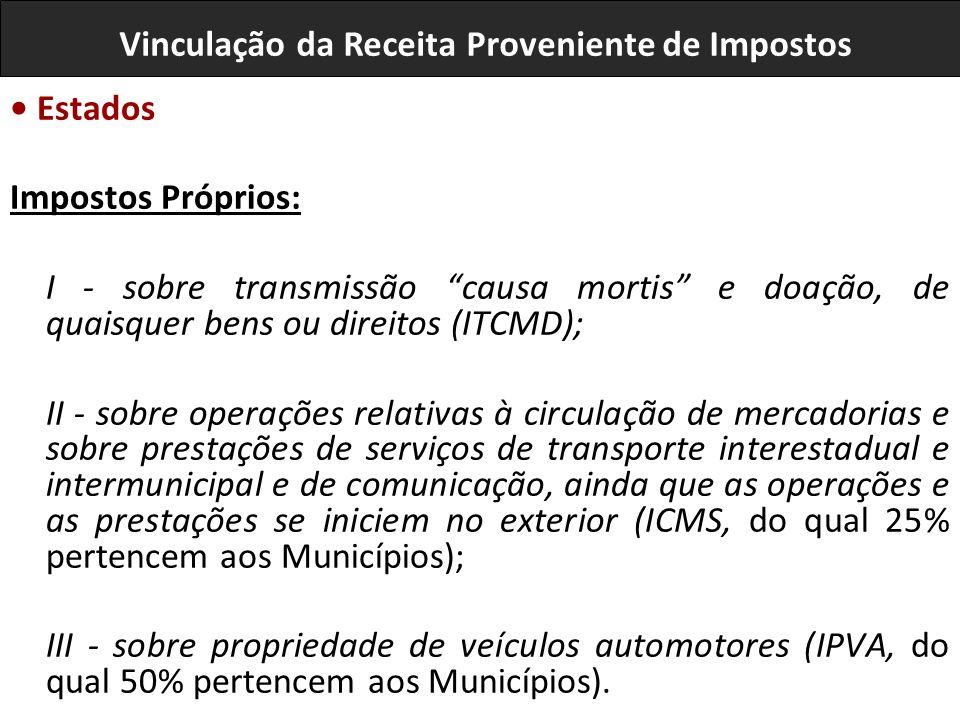 Estados Impostos Próprios: I - sobre transmissão causa mortis e doação, de quaisquer bens ou direitos (ITCMD); II - sobre operações relativas à circulação de mercadorias e sobre prestações de serviços de transporte interestadual e intermunicipal e de comunicação, ainda que as operações e as prestações se iniciem no exterior (ICMS, do qual 25% pertencem aos Municípios); III - sobre propriedade de veículos automotores (IPVA, do qual 50% pertencem aos Municípios).