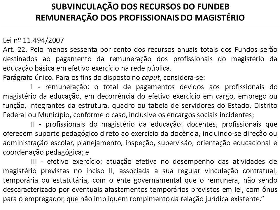 SUBVINCULAÇÃO DOS RECURSOS DO FUNDEB REMUNERAÇÃO DOS PROFISSIONAIS DO MAGISTÉRIO Lei nº 11.494/2007 Art.
