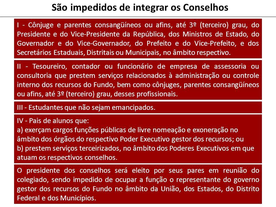 São impedidos de integrar os Conselhos I - Cônjuge e parentes consangüíneos ou afins, até 3º (terceiro) grau, do Presidente e do Vice-Presidente da Re