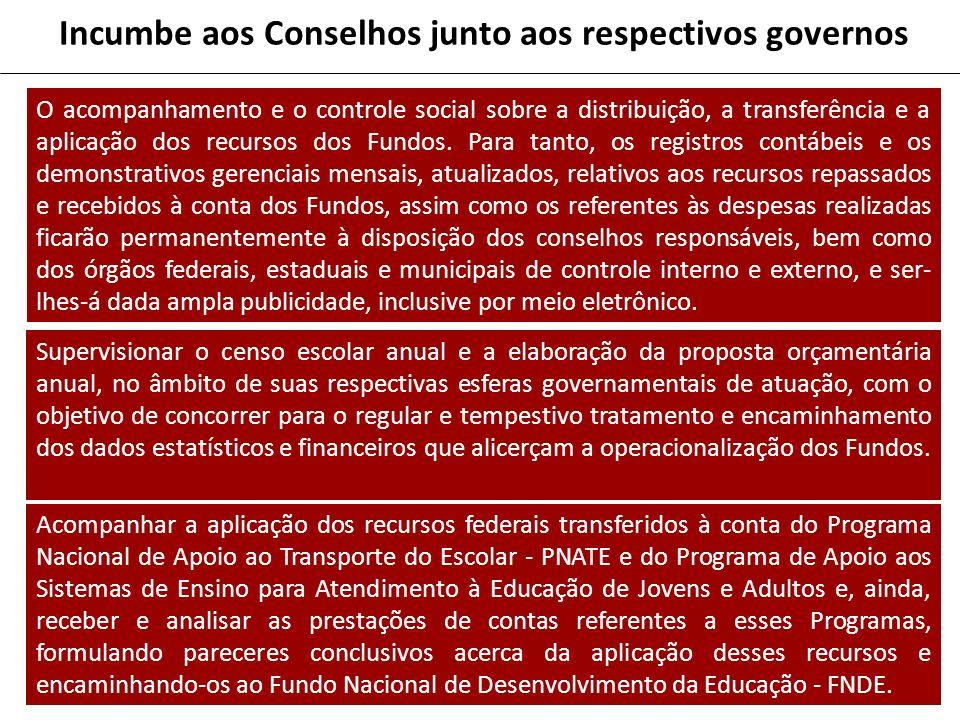 Incumbe aos Conselhos junto aos respectivos governos O acompanhamento e o controle social sobre a distribuição, a transferência e a aplicação dos recursos dos Fundos.