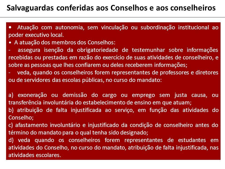 Salvaguardas conferidas aos Conselhos e aos conselheiros Atuação com autonomia, sem vinculação ou subordinação institucional ao poder executivo local.