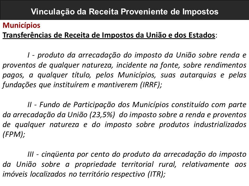 Municípios Transferências de Receita de Impostos da União e dos Estados: I - produto da arrecadação do imposto da União sobre renda e proventos de qua