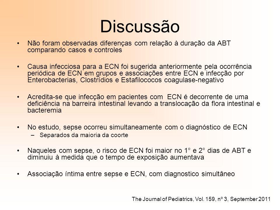 Discussão Não foram observadas diferenças com relação à duração da ABT comparando casos e controles Causa infecciosa para a ECN foi sugerida anteriorm