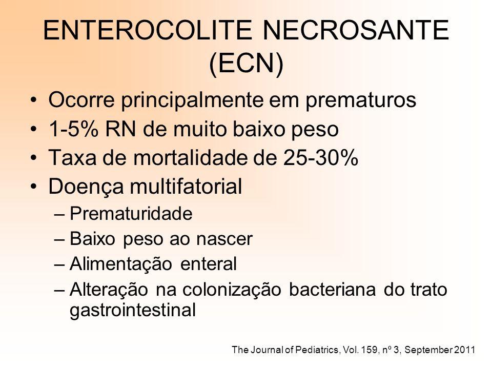ECN Recém-nascido a termo (RNT) em aleitamento materno –Colonizados por várias espécies de micróbios (Bifidobacterium e Lactobacillus) Resistência a colonização por bactérias altamente patogênicas Estimula a produção de citocinas anti-inflamatórias Recém-nascido pré-termo (RNPT) hospitalizados –Menor diversidade microbiana e poucos anaeróbios –Colonizados por Escherichia coli, espécies de Enterococcus e Klebsiella pneumoniae Invasão da parede intestinal, translocação e produção de citocinas inflamatórias The Journal of Pediatrics, Vol.