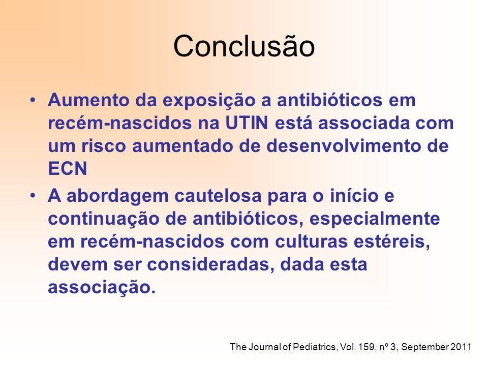 Conclusão Aumento da exposição a antibióticos em recém-nascidos na UTIN está associada com um risco aumentado de desenvolvimento de ECN A abordagem ca