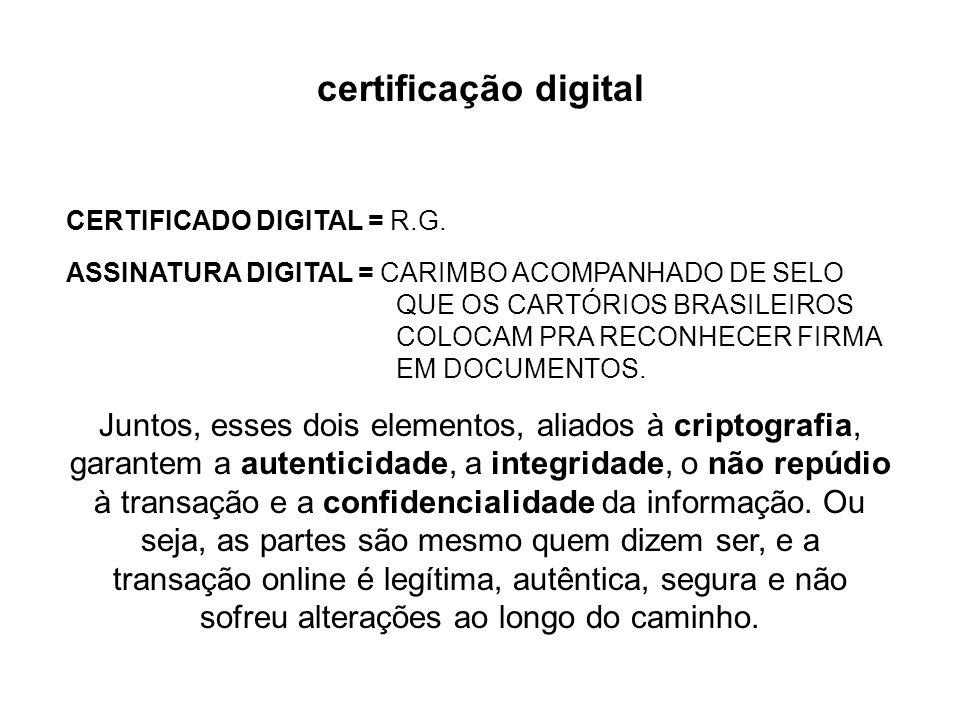 certificação digital: o certificado digital é um documento eletrônico que contém informações que identificam uma pessoa, uma máquina ou uma instituiçã