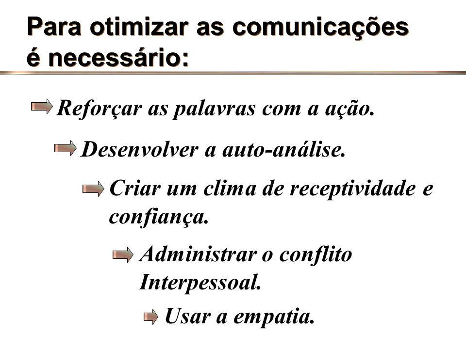 Para otimizar as comunicações é necessário: Para otimizar as comunicações é necessário: Praticar uma comunicação voltada para resultados. Saber distin