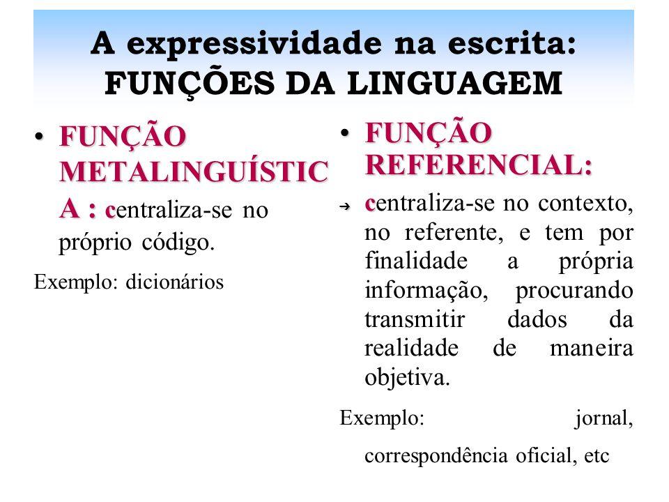 A expressividade na escrita: FUNÇÕES DA LINGUAGEM FUNÇÃO FÁTICA :FUNÇÃO FÁTICA : c centraliza-se no canal e tem por finalidade estabelecer, prolongar