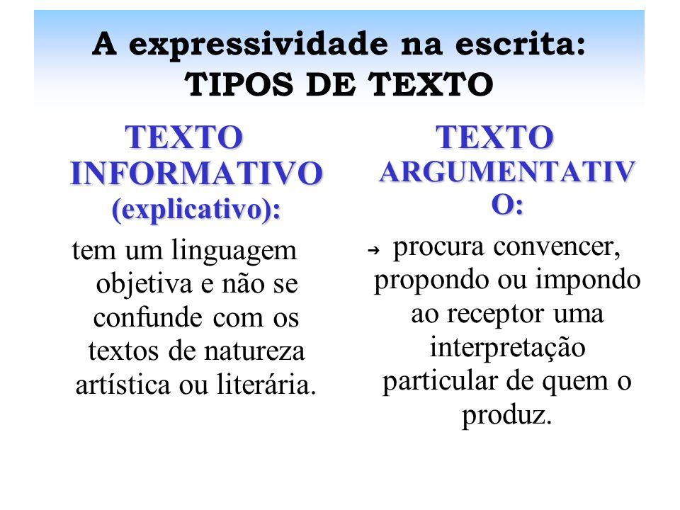 A expressividade na escrita: TIPOS DE TEXTO TEXTO DESCRITIVO: representa objetos e personagens. Existem descrições puramente técnicas ou informativas