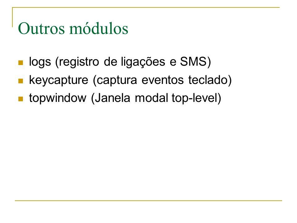 Outros módulos logs (registro de ligações e SMS) keycapture (captura eventos teclado) topwindow (Janela modal top-level)