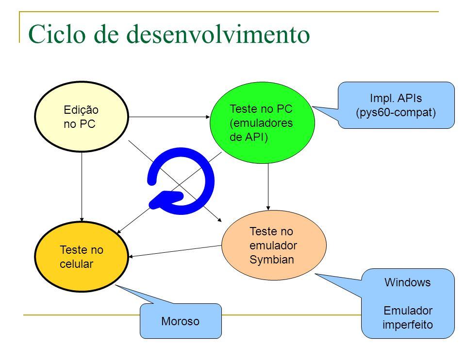 Ciclo de desenvolvimento Edição no PC Teste no celular Teste no PC (emuladores de API) Teste no emulador Symbian Impl.