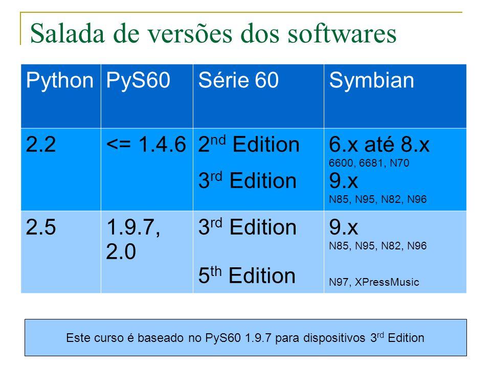 Obter e instalar o PyS60 Distribuição para Windows Distribuição genérica PyS60 para SDK Versão 3.2 https://garage.maemo.org/projects/pys60/