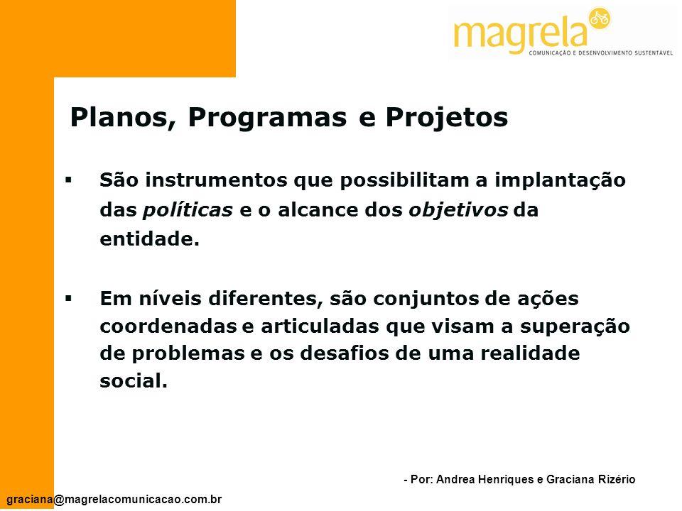 - Por: Andrea Henriques e Graciana Rizério graciana@magrelacomunicacao.com.br Planos Programas Projetos Possibilitam a implantação das políticas e o alcance dos objetivos da entidade.