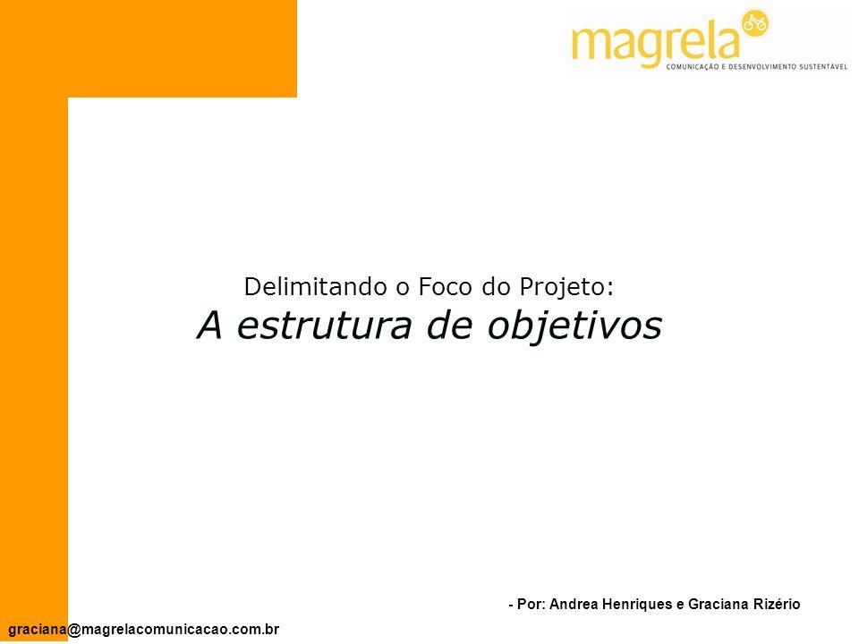 - Por: Andrea Henriques e Graciana Rizério graciana@magrelacomunicacao.com.br Apresentar os problemas que justificam o projeto.