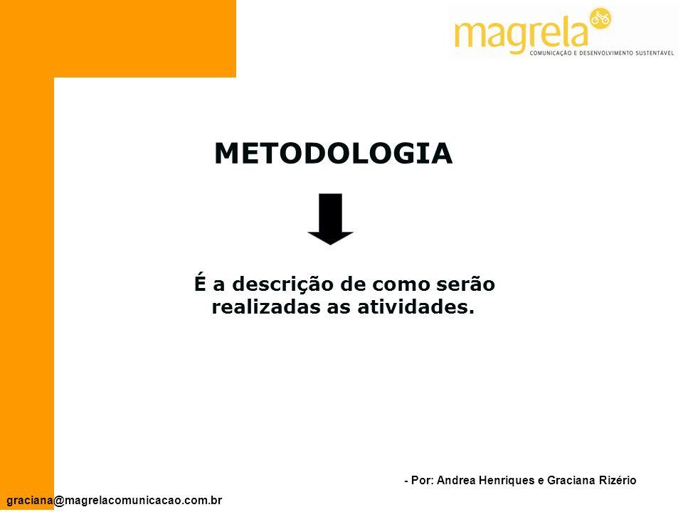 - Por: Andrea Henriques e Graciana Rizério graciana@magrelacomunicacao.com.br Objetivos Específicos Atividades Principais ResponsáveisResultados Quantitativos Resultados Qualitativos Período OFICINA