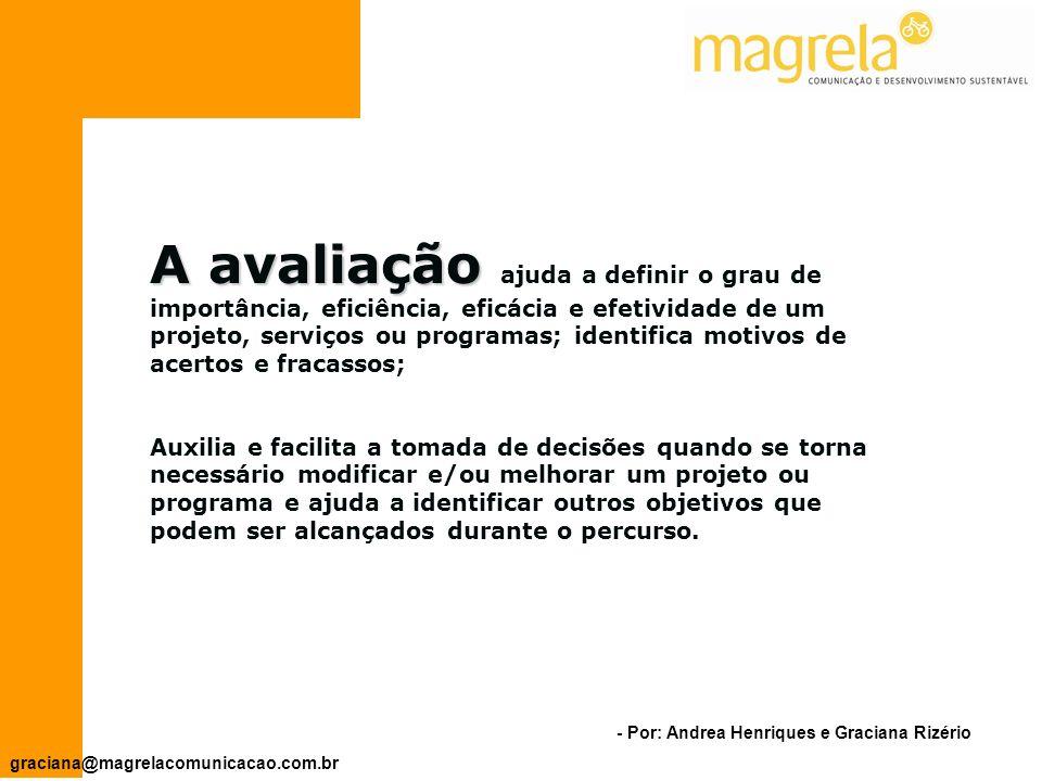 - Por: Andrea Henriques e Graciana Rizério graciana@magrelacomunicacao.com.br AVALIAÇÃO Processo conduzido antes, durante e/ou depois da implementação do projeto.