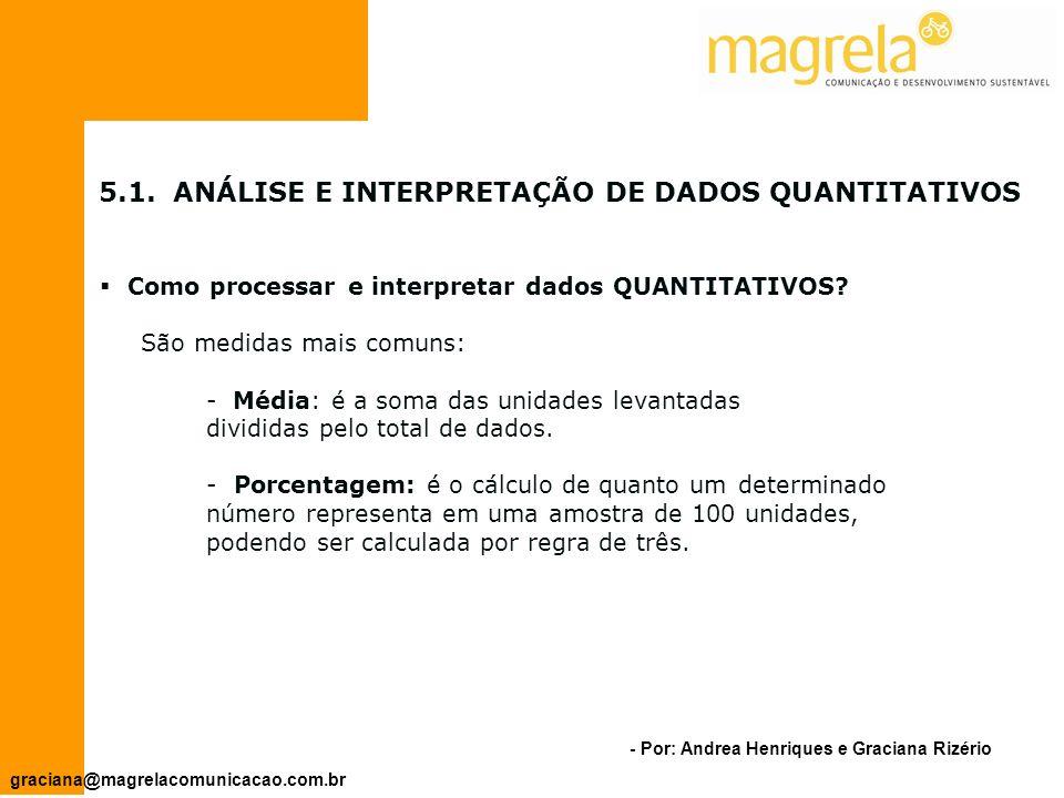 - Por: Andrea Henriques e Graciana Rizério graciana@magrelacomunicacao.com.br 5.ANÁLISE E INTERPRETAÇÃO DE DADOS E INFORMAÇÕES Como organizar os dados.