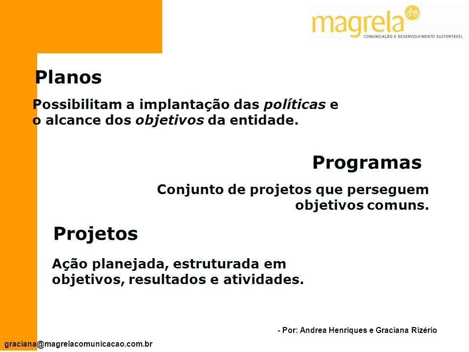 - Por: Andrea Henriques e Graciana Rizério graciana@magrelacomunicacao.com.br PROJETOS PROGRAMAS PLANOS