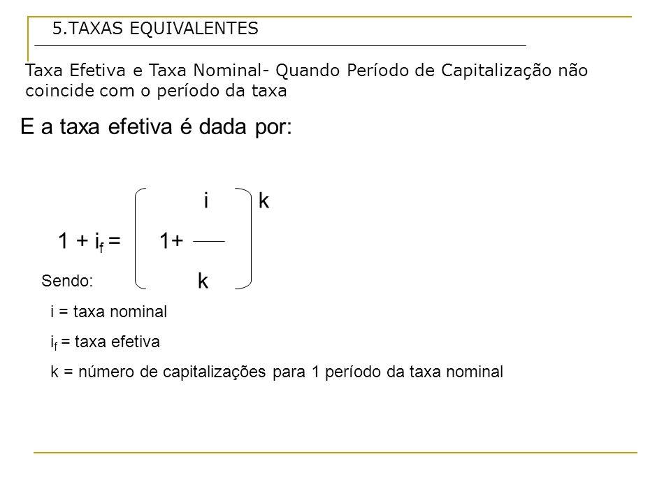 E a taxa efetiva é dada por: Taxa Efetiva e Taxa Nominal- Quando Período de Capitalização não coincide com o período da taxa 5.TAXAS EQUIVALENTES Sendo: i = taxa nominal i f = taxa efetiva k = número de capitalizações para 1 período da taxa nominal ik 1 + i f = 1+ k