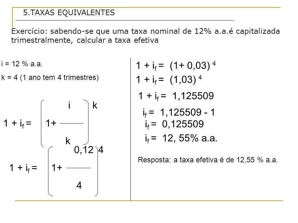 Exercício: sabendo-se que uma taxa nominal de 12% a.a.é capitalizada trimestralmente, calcular a taxa efetiva 5.TAXAS EQUIVALENTES i = 12 % a.a.