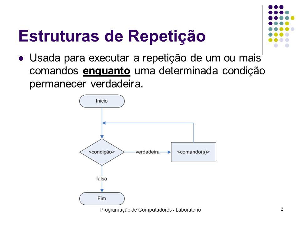 Programação de Computadores - Laboratório 2 Estruturas de Repetição Usada para executar a repetição de um ou mais comandos enquanto uma determinada condição permanecer verdadeira.