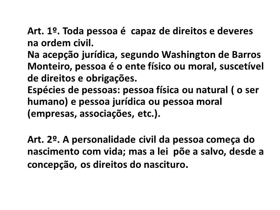 Art. 1º. Toda pessoa é capaz de direitos e deveres na ordem civil. Na acepção jurídica, segundo Washington de Barros Monteiro, pessoa é o ente físico