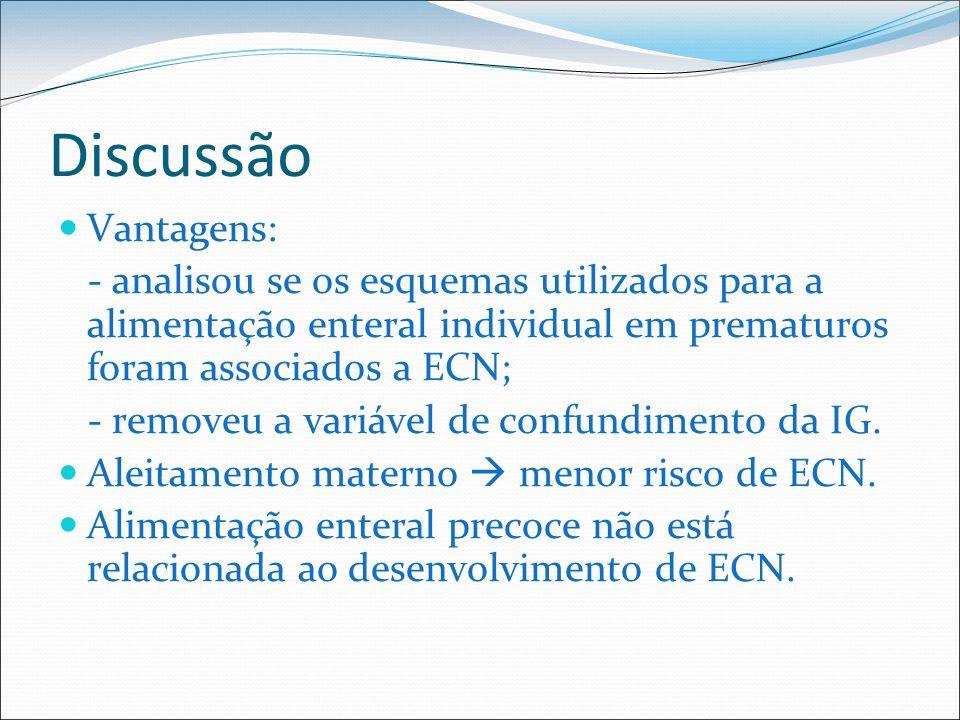 Discussão Vantagens: - analisou se os esquemas utilizados para a alimentação enteral individual em prematuros foram associados a ECN; - removeu a vari