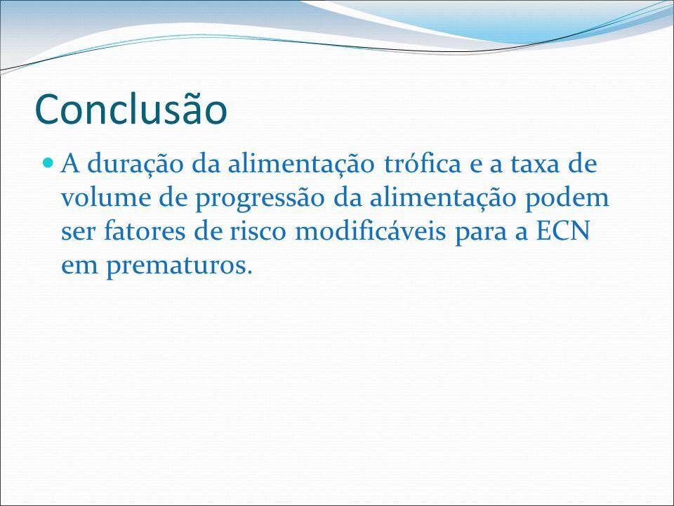 Conclusão A duração da alimentação trófica e a taxa de volume de progressão da alimentação podem ser fatores de risco modificáveis para a ECN em prema