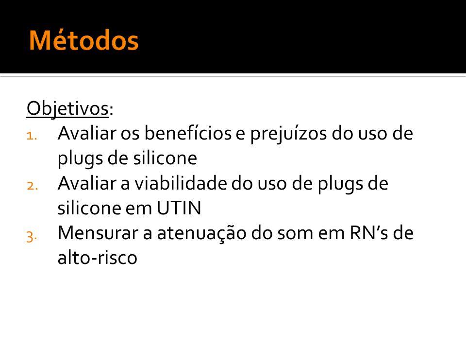 Objetivos: 1. Avaliar os benefícios e prejuízos do uso de plugs de silicone 2. Avaliar a viabilidade do uso de plugs de silicone em UTIN 3. Mensurar a