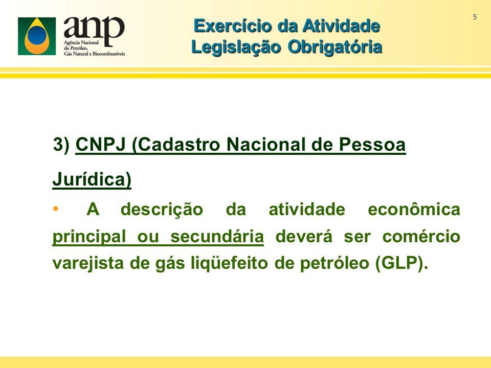 5 Exercício da Atividade Legislação Obrigatória 3) CNPJ (Cadastro Nacional de Pessoa Jurídica) A descrição da atividade econômica principal ou secundá