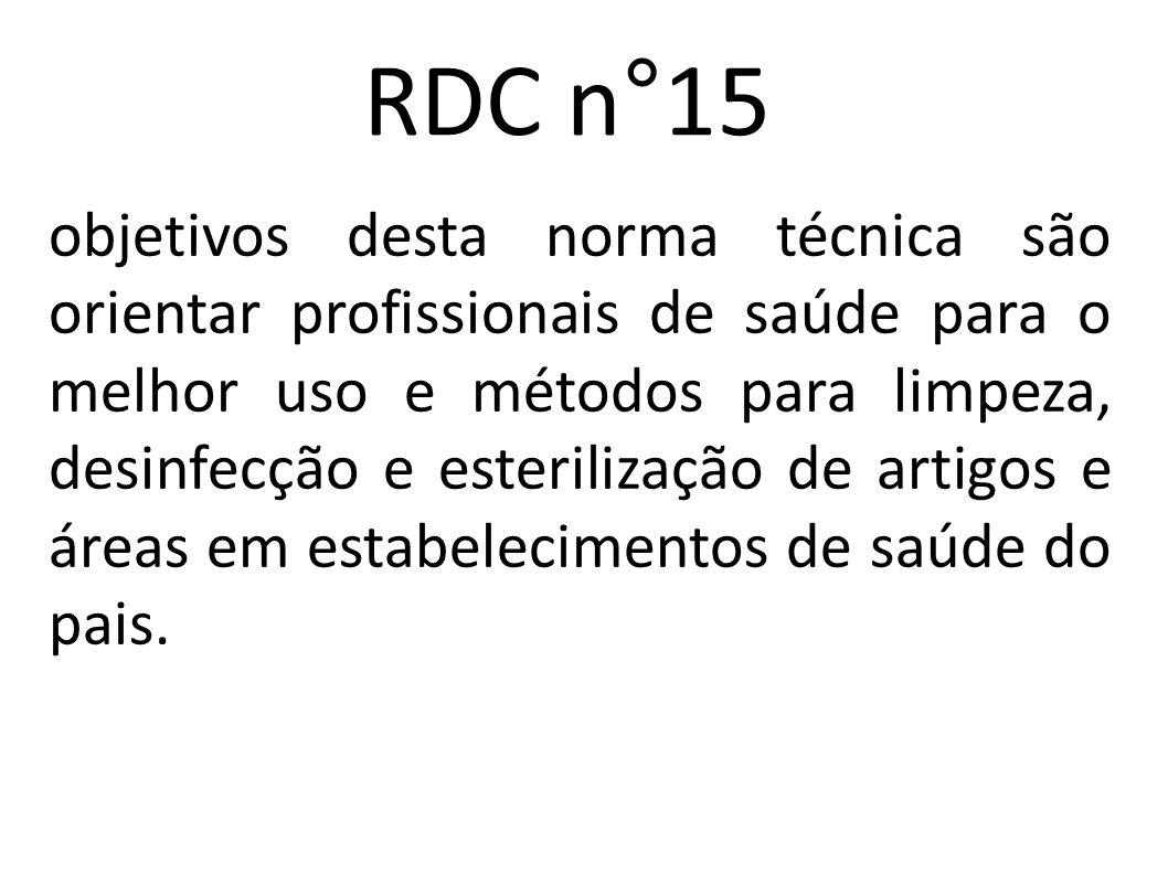 RDC n°15 objetivos desta norma técnica são orientar profissionais de saúde para o melhor uso e métodos para limpeza, desinfecção e esterilização de ar