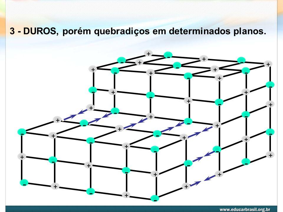 2 - PONTOS DE FUSÃO E EBULIÇÃO ALTOS NaClpf = 801 o Cpe = 1430 o C CaCl 2 pf = 785 o Cpe = 1600 o C LiClpf = 610 o Cpe = 1380 o C MgCl 2 pf= 714 o Cpe