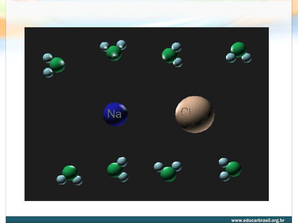 Na + OH Cl - 4- SOLÚVEIS, GERALMENTE, EM ÁGUA, devido às forças do tipo ÍON - DIPOLO