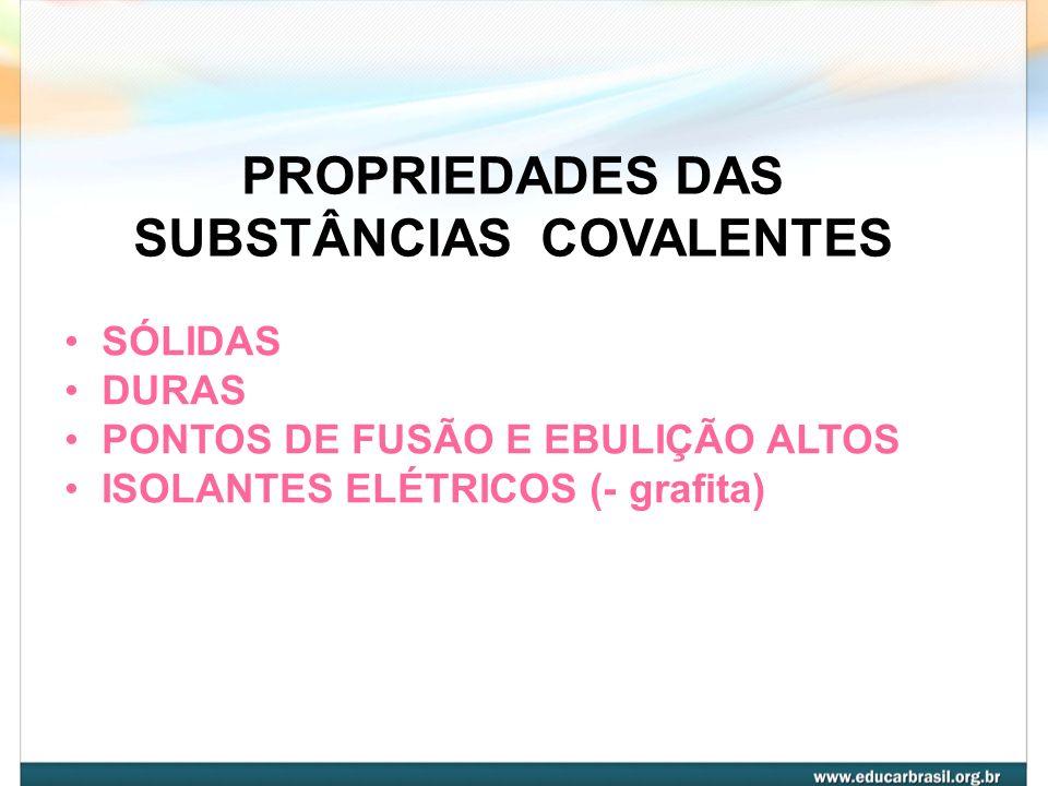 SUBSTÂNCIAS COVALENTES APRESENTAM LIGAÇÕES COVALENTES, MAS NÃO FORMAM MOLÉCULAS. U.R = átomos C (diamante) C (grafita) SiC(s) SiO 2 (s) Si (s)
