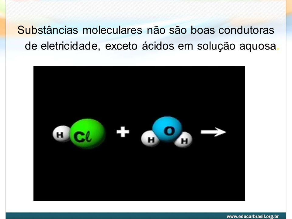Propriedades físicas dos compostos moleculares Substâncias moleculares tendem a ter Tf e Te baixas. Sua solubilidade em água depende da sua polaridade